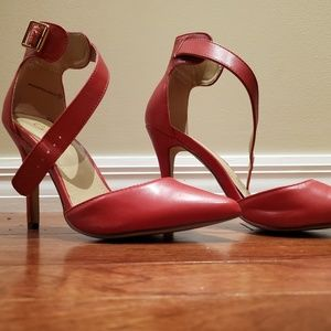 Red Ankle Strap Sandals Size 7.5